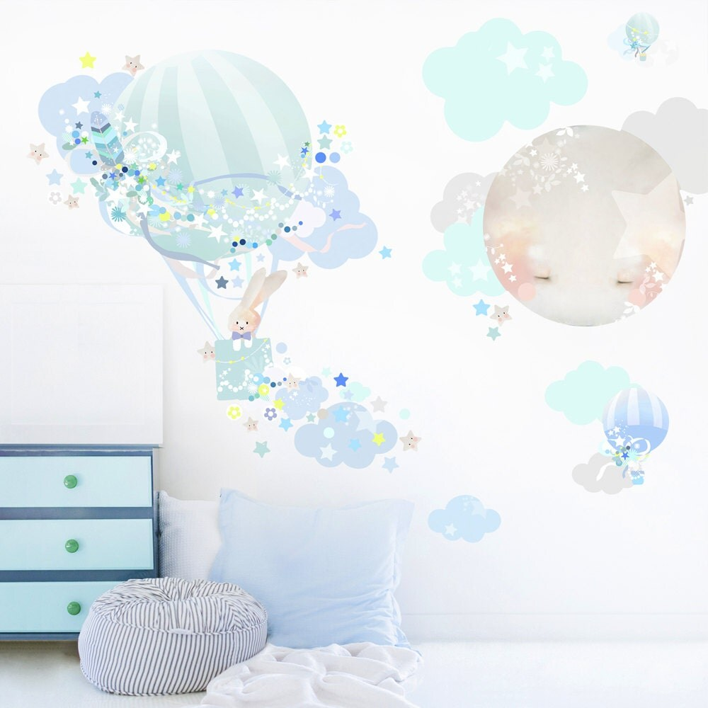 hot air balloon fabric decal wall stickers bunny animal zoom