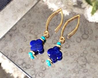 Blue Lapis Dangle Earrings Gold Vermeil Turquoise Long Blue Earrings, Royal Blue Turquoise Earrings Blue Lapis Quatrefoil Clover