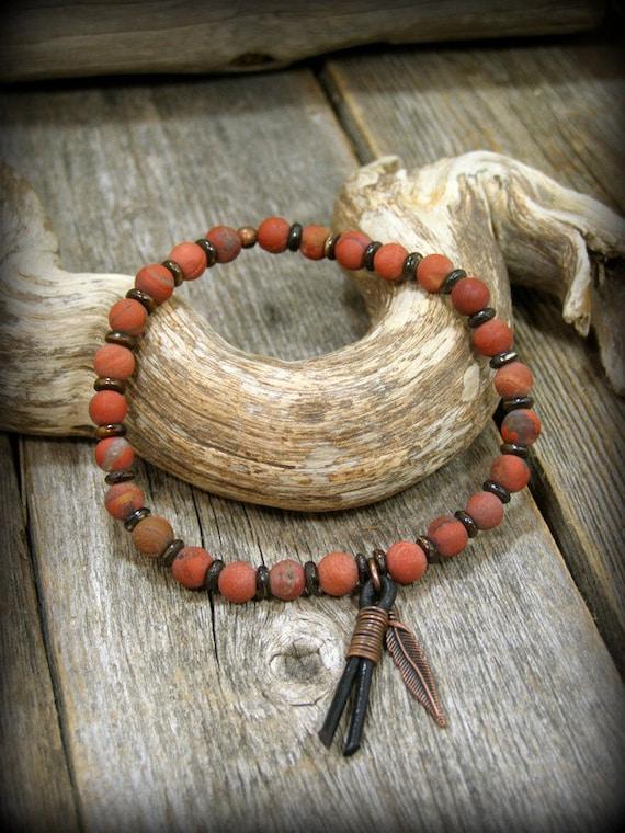 Mens Beaded Bracelet, Bracelet for Men, Matte Jasper Bracelet, Mens Jewelry, Feather Bracelet, Southwest Bracelet, Native American