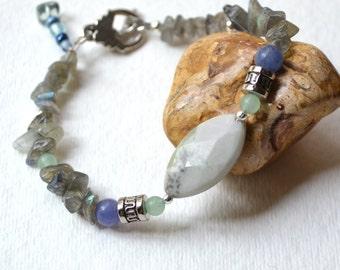 Inspiration Peace Stone Jasper Bracelet - Labradorite, Blue and Green Aventurine, Silver, Handmade OOAK, Free US Shipping, Healing Gemstone,