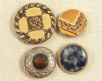 SALE --- Group of 4 Antique Mismatched Costume Buttons