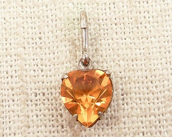 SALE --- Vintage Sterling and Heart Shaped Amber Glass Charm
