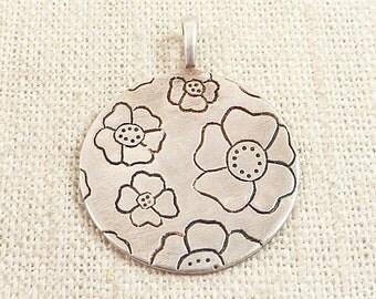 Vintage Sterling Stamped Flower Pendant