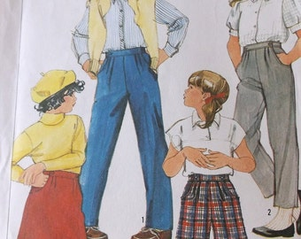 Girls Pants Skirt Pattern Simplicity 6961 Uncut Pattern Size 12