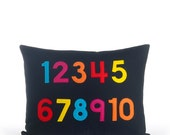 NUMBERS- recycled felt applique pillow 14 in x 18 in