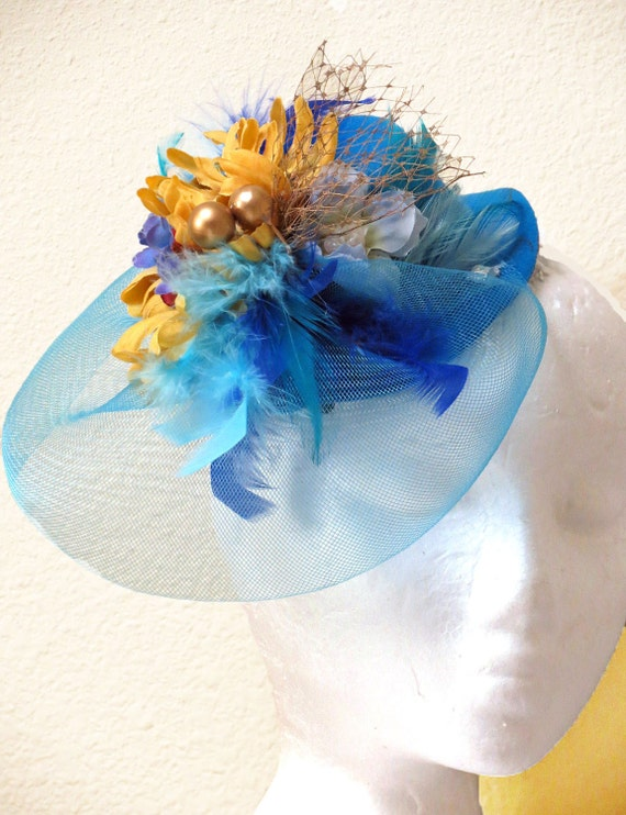 Blue fascinator Turquoise  Golden Yellow Wedding Hat , Veil Flower Fascinator, Party Mini top Hat SHORES