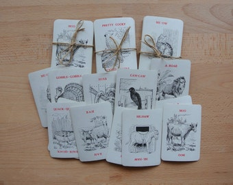 Set of 14 x Vintage Illustrated Animal Game Cards Cute Animals & Sounds for Collage Altered Arts Australia