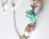 Aqua Bridesmaid Necklace Pale Blue Pearl Jewelry Aqua and Ivory Wedding Bridal Party Gift Light Aqua Blue Flower Necklace Bridesmaid Jewelry