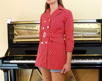 XS Mod 60s 70s Polka Dot Jacket // extra small vintage 1960s 1970s red and white double breasted shrunken belted mini coat // XXS 0 cute