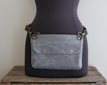 Hip Pouch Fanny Pack Charcoal Blue Grey Waxed Canvas