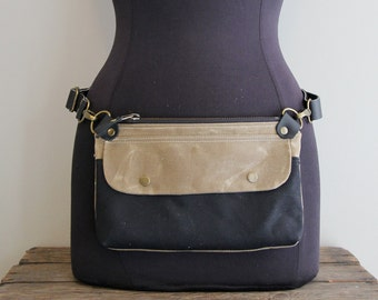 Fanny Pack Hip Pouch Tan and Black Waxed Canvas