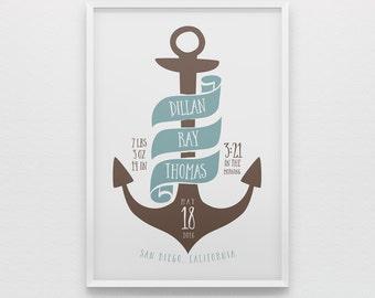 Nautical anchor birth stats nursery art print for boys, blue brown, birth stats wall art, new baby boy gift, newborn gift,