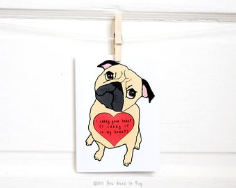 Poetic Pug Valentine Card - Pug Card - Pug Valentine - Pug Anniversary Card - Valentine's Day Card - Romantic Card - Poetry Card