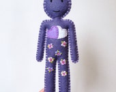 Two Hearts Happy Doll - Spring Flowers - periwinkle and shades of mauve hand embroidered - OOAK