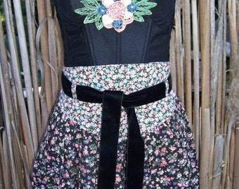 Corset Dress, Black corset dress, Spring break, Strapless dress, Gypsy dress,  Floral corset dress, size m