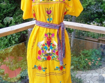 Mexican dress embroidered yellow peacock bird & flowers size XL