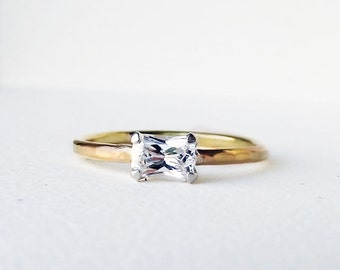 14K Gold Emerald Cut Diamond Forever Yours Engagement Ring