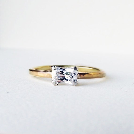 14K Gold Emerald Cut Moissanite Forever Yours Engagement Ring
