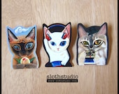 Handmade Plastic Cat Brooch or Magnet - Brown Monkey, Emma and Miley - Wearable Art - Made To Order