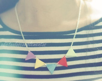 Necklace Garland. Beauty and Geometric Triangle  Bunting Necklace rainbow