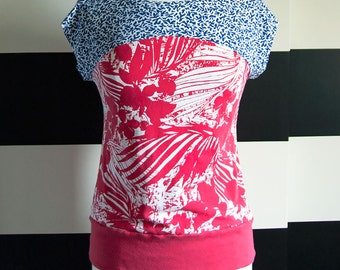 Mixed Print UPCYCLED Ladies Fitted T-Shirt, size medium/large