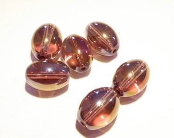 40% Off -- DESTASH - Six (6) Light Amethyst Oval Glass Beads with Metallic AB Finish -- Lot OO