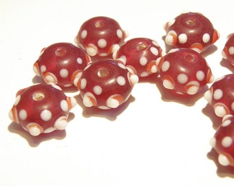 20% OFF -- DESTASH -- 11 Translucent Cranberry, White, and Rusty Orange Bumpy Rondelle Beads - Lot OO