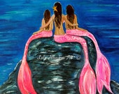 "Mermaid Art Print Little Mermaid Mother Daughters Mom Girls Sisters Little Girls Room Decor "" Gorgeous Girls"" Leslie Allen Fine Art"