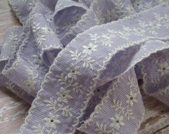 Vintage Lavender Gingham Embroidered Trim Scalloped Edge Over 6.5 yards