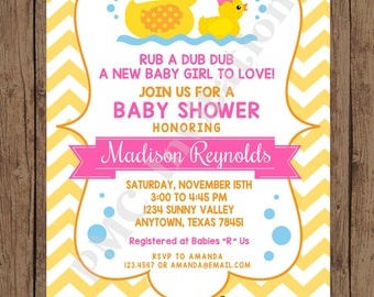 Custom Printed Yellow Rubber Duck Baby Shower Invitations - 1.00 each with envelope