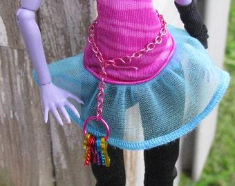 The Key Holder Gothic Steampunk Doll Jewelry Set fits Slimline Petite Monster Fairytale Dolls Necklace Belt Hoop Earrings