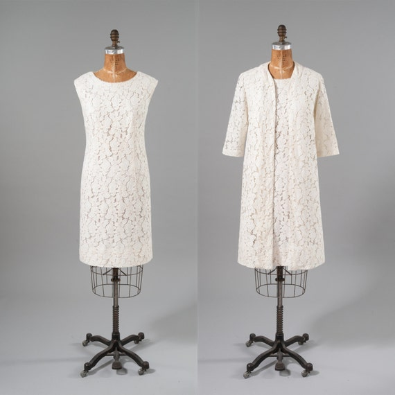 White Lace Dress Coat Set Vintage 60s Two Piece Dress Set
