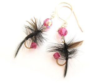 Fuchsia Pink and Black Fishing Fly Lure Earrings - Fun Fly Female Fisherman Angler Fish Feather Sterling Silver Jewelry