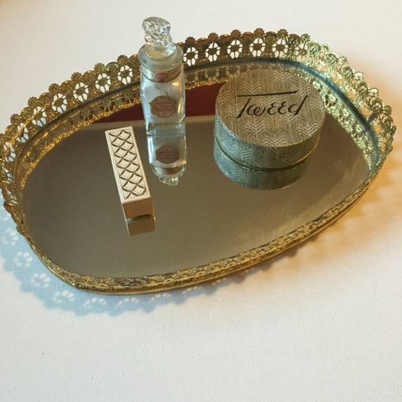 Gold Mirror Tray Vintage Vanity Mirror with by OliveOilVintage