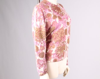 vintage 1950s angora cardigan sweater pink flower pearl button mad men pin up bombshell size small medium