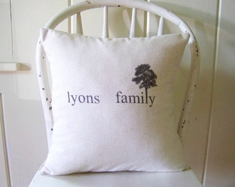 family tree pillow cover / tree of life / gray / personalized pillow / family pillow / gift idea / house warming / custom /