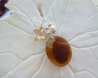 Amber English Sea Glass Necklace Beach Glass Starfish Jewelry Seaglass Pendant Sterling