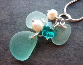 Aqua Mermaid Sea Glass Necklace Beach Teal Blue Seaglass Jewelry Sterling Pendant
