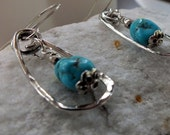 Turquoise Earrings. Hammered Sterling Silver. Dangle & Drop Earrings