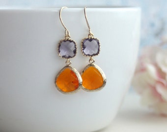 Orange and Purple Egg Plant Earrings, Carnelian Gold Plated Tangerine Dangle Earrings Bridal Earrings, Bridesmaids Gift Orange Wedding Sis