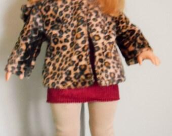 "SALE - Fur coat with hood, hat, tee, skirt, pants boots fit 18"" dolls like American Girl"