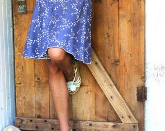 Songbird Skater Skirt - Organic Cotton - Eco Fashion - Made to Order - Blue or Tan