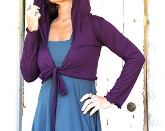 Long Sleeve Hooded Bolero Wrap Top - Organic Fabric - Made to Order - Many Colors Available