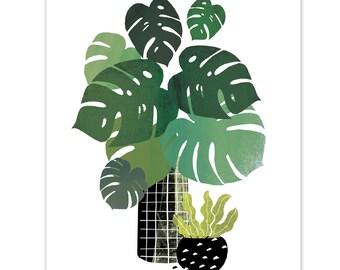 Leafy Goodness Print // Monstera // Cheese Plant Leaf // Tropical Leaf // Botanical