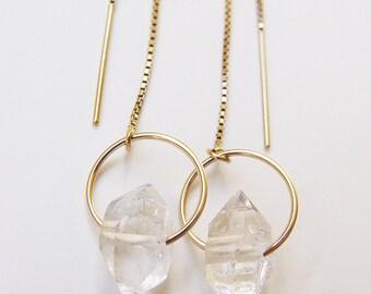 ON SALE Herkimer Diamond Gold Chain Earrings