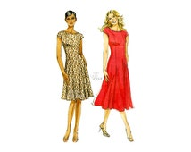 Fit and Flare Dress Pattern Very Easy Vogue V8665, Princess Seams, Scoop Neck, Cap Sleeves, Sizes 8 10 12 14, Easy Sewing Patterns