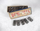 vintage domino set, in original box, faux wood, game, vintage collectibles