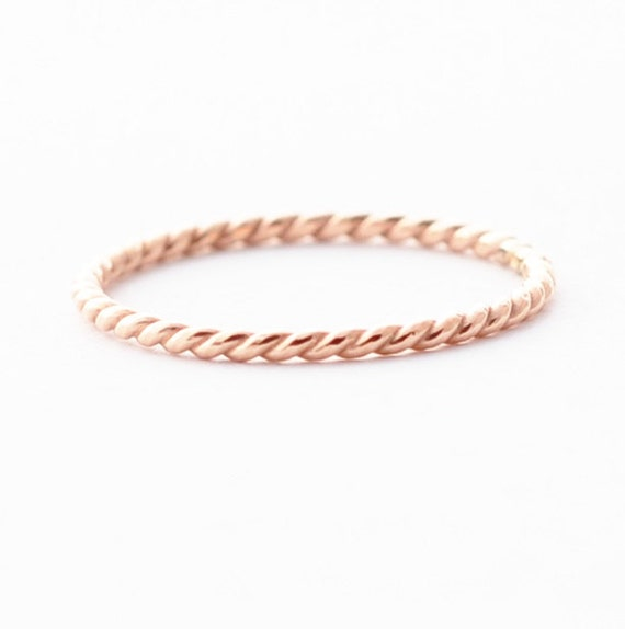 Rose Gold Wedding Band 18K Twist By BlueRidgeNotions On Etsy