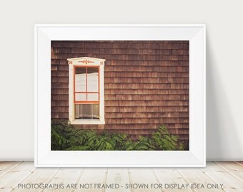 Rustic Home Decor, Window Photography, Cottage Farmhouse Wall Art, Dark Brown Wood, Minimal Minimalist, Historic Vintage Architecture