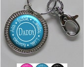 Dad Keychain - Personalized Father's Day Keychain with Kids Names in 6 Colors, Braided Edge Pendant (A256)